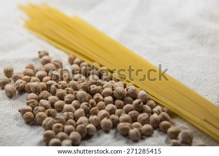 Chickpea and pasta on a white bag - stock photo