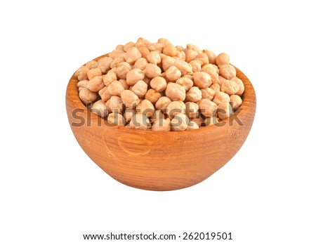 Chickpea in wooden bowl, isolated on white background - stock photo