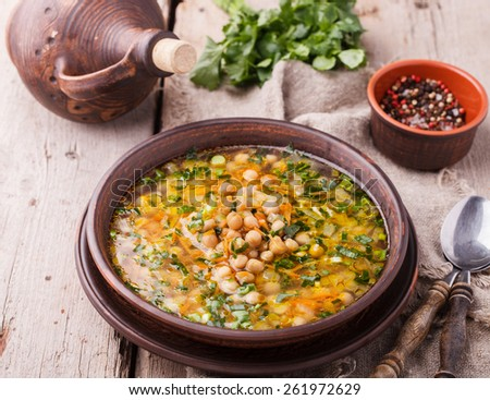 Chickpea soup.selective focus - stock photo