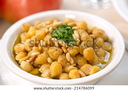 Chickpea Soup , Traditional Chickpea plate  - stock photo