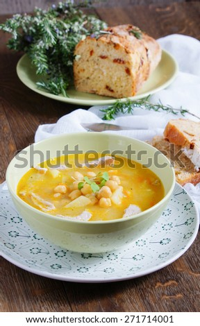 chickpea soup with pork and potatoes