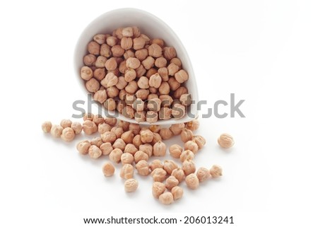 Chickpeas in a bowl, isolated on white - stock photo