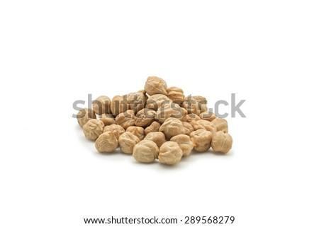Chickpeas isolated on white background. Macro shot. - stock photo