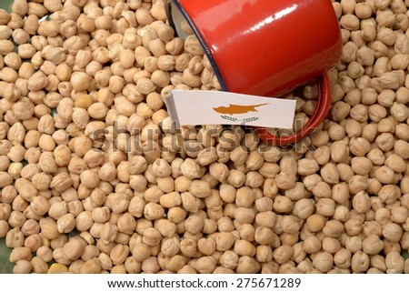 Chickpeas or Garbanzo Beans With Cyprus Flag - stock photo