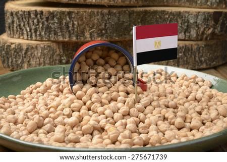 Chickpeas or Garbanzo Beans With Egypt Flag - stock photo
