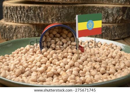 Chickpeas or Garbanzo Beans With Ethiopia Flag - stock photo