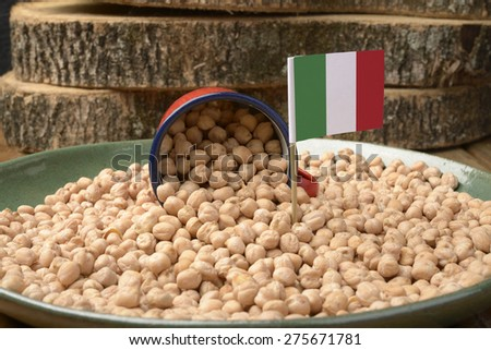 Chickpeas or Garbanzo Beans With Italy Flag - stock photo