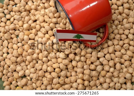Chickpeas or Garbanzo Beans With Lebanon Flag - stock photo