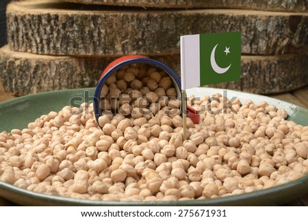 Chickpeas or Garbanzo Beans With Pakistan Flag - stock photo