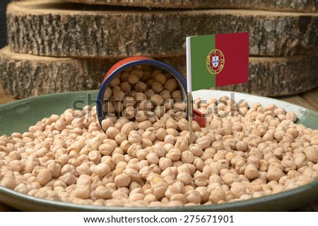Chickpeas or Garbanzo Beans With Portugal Flag - stock photo