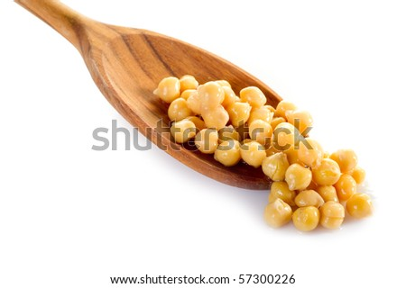chickpeas over spoon - stock photo