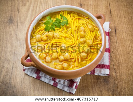 chickpeas sop from spain - stock photo