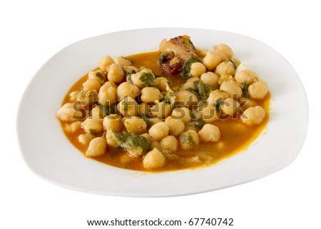 chickpeas soup on a white plate isolated on white - stock photo