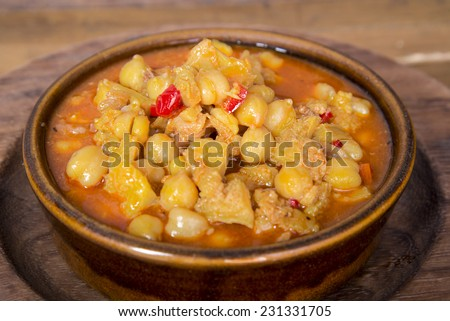 Chickpeas with tripe stew - stock photo