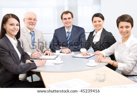 Chief and his team - stock photo