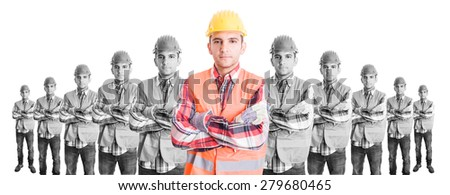Chief constructor with builders team. Leader or boss concept on wide image - stock photo