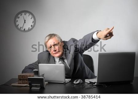 chief in a dismissal position - stock photo