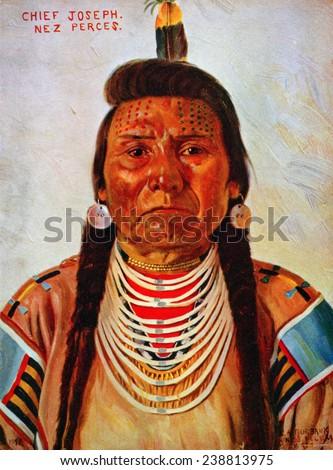 Chief Joseph, Nez Perce chief, head-and-shoulders portrait, facing front] / E.A. Burbank, Nespelem, Wash, color halftone ca. 1897 - stock photo