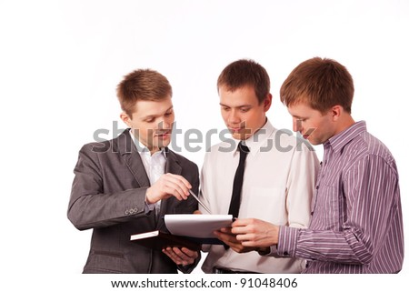 chief manager gives instructions to subordinates - stock photo
