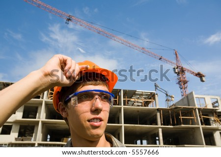 Chief of construction on a building site.