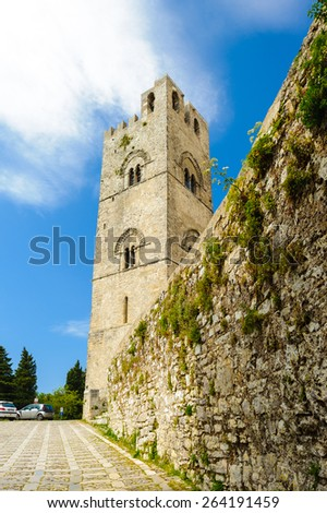 Chiesa di Madre, Erice, Sicily, Italy. - stock photo