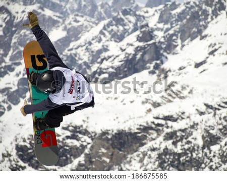 Chiesa in Valmalenco, IT - MAR 30: Eilersten Haakon compete in the Fis freestyle junior world championships 2014  Snowboard Slopestyle event in Chiesa Valmalenco, IT on March 30, 2014 - stock photo