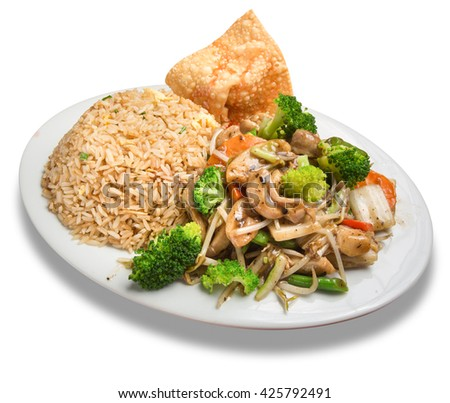 Chifa Peru: chaufa rice with tausi chicken - stock photo