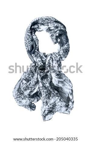 Chiffon tied gray neckerchief isolated over white - stock photo