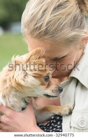 chihuahua and woman
