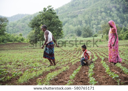 CHIKHALDARA, MAHARASHTRA, INDIA - 16 JULY 2015 : Unidentified happy Indian rural people at their village, daily lifestyle in rural area in Maharashtra