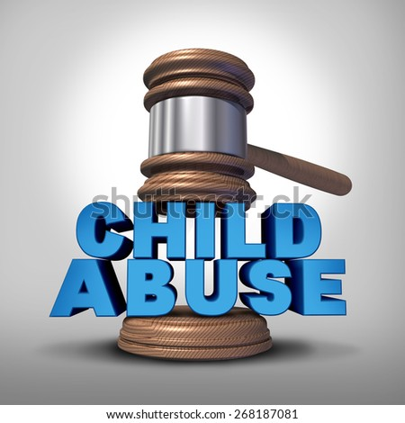 Child abuse concept and criminal abusive mistreatment of children symbol as a justice judge gavel or mallet coming down on the words that represent the criminal act of neglect and violence on kids. - stock photo