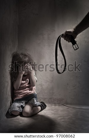 Child Abuse with abusive parent father - stock photo