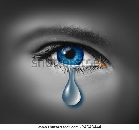 Child abuse with the eye of a young boy or girl with a single tear crying due to the fear of violence or depression caused by hunger and poverty and being afraid of bullying at school. - stock photo