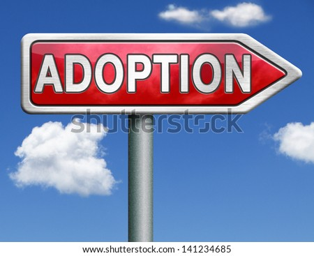 child adoption becoming a legal guardian and getting guardianship over young child road sign arrow - stock photo