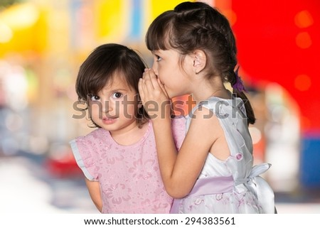 Child, Advice, Whispering. - stock photo