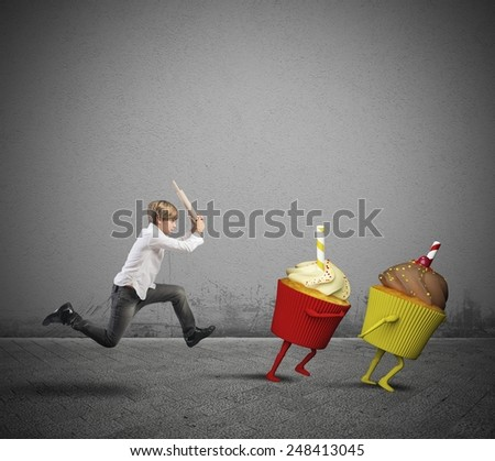 Child against the desserts for healthy diet - stock photo