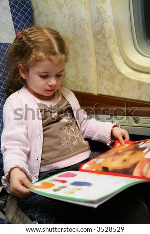 child airplane book - stock photo