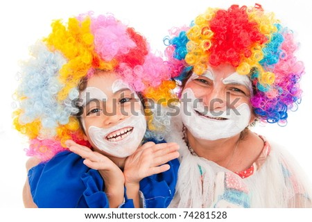 Child and Adult woman clown smiling . - stock photo
