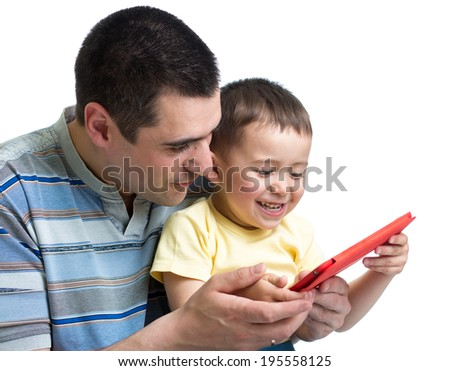 child and dad play and read tablet computer - stock photo