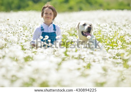 Child and dog - stock photo