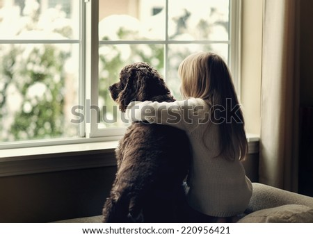 Child and  dog by the window. - stock photo
