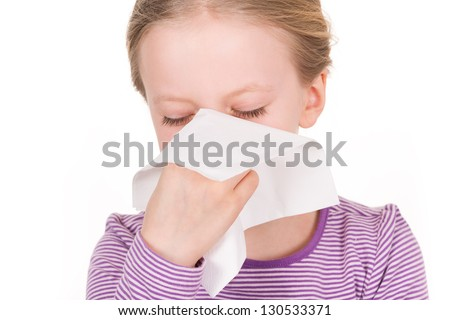 Child and girl - illness, runny nose, tissue and blowing nose - stock photo