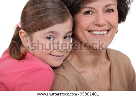 Child and grandmother - stock photo