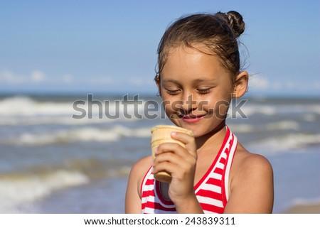 Child and ice cream - stock photo