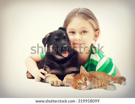 Child and puppy and kitten, instagram