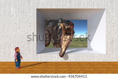 Child and the dinosaur Spinosaurus looking at opened concrete wall Computer generated 3D illustration