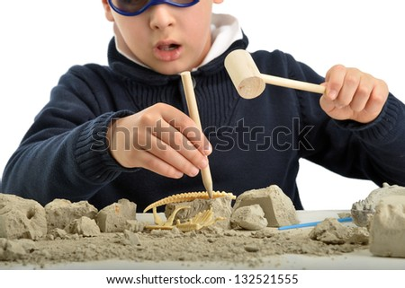 Child archaeologist excavating for dinosaur fossil isolated on white background - stock photo