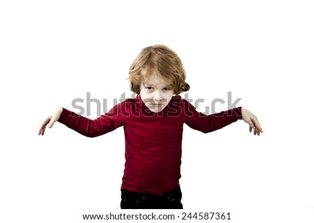 child arms open, red hair