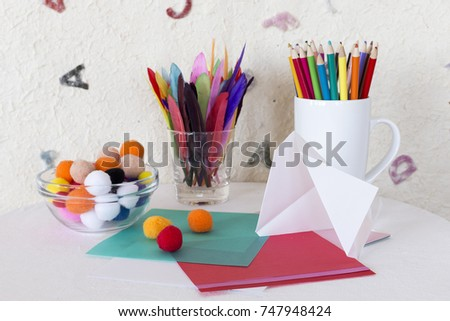 child arts craft work station colored stock photo edit now