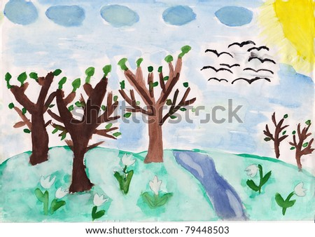 Child artwork paint. Trees and white flowers on the hill, river, sun and birds in the sky.